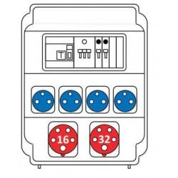 Zásuvková rozvodnice 1x16/5 + 132/5 + 4x 230V, jištěná, s chráničem, IP54