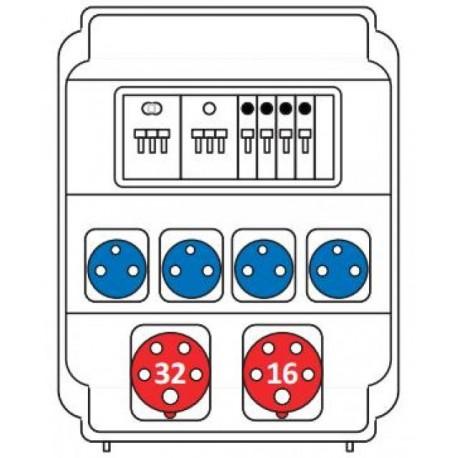 Zásuvková rozvodnice 1x32/5 + 1x16/5 + 4x230V, jištěná, IP54