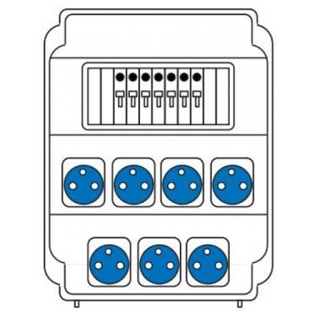 Zásuvková rozvodnice 7x230V, jištěná, IP54